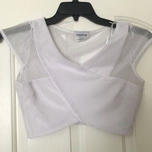 Bebe White mesh crop top